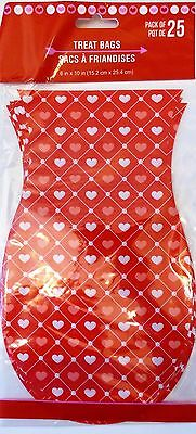 Valentine's Day~ 25 ShapedTreat Bags w Ties Treat Goody Plastic Bags~ Red Hearts - Valentine Goodie Bags