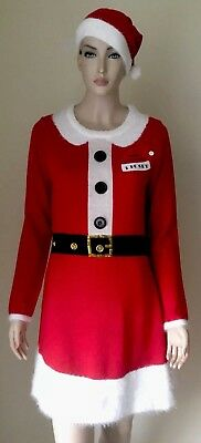 NWT Allison Brittney Cute Ugly Christmas Sweater Dress M Mrs Santa Red w/ Hat - Cute Santa Dresses