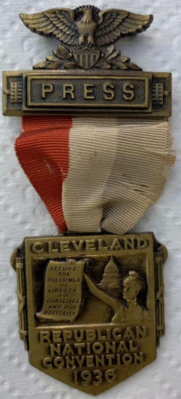 Rare Antique 1936 Republican National Convention (Cleveland) Press Medal
