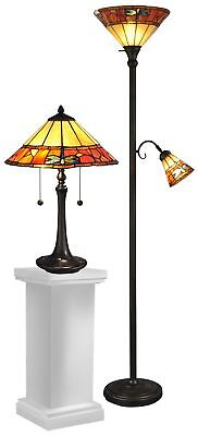 brena antique brass table floor lamp combo