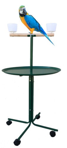 Large Play Stand With Metal Base Cups Parrot Amazon African Grey Macaw Cockatoo
