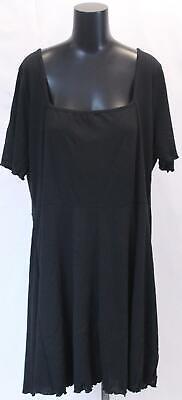 Boohoo Women's Plus Square Neck Ribbed Skater Dress GS2 Black Size US:20 NWT