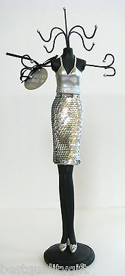 Sicura Silver Sequin Dressed Lady Figure Jewelry Stand-italian Designs
