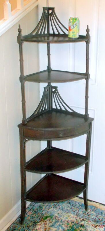 Vtg REGENCY Revival CORNER SHELF  ETAGERE Elegant
