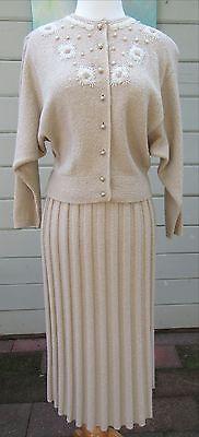 Vintage 1950's KIMS Kimberly Knitwear Sweater & Skirt Set, Tan w Beading Accent