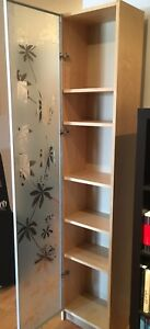 Billy bookcase (birch) with frosted glass door