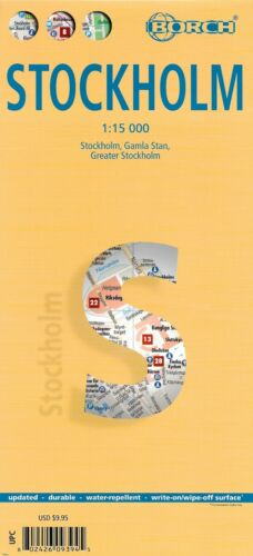 Map of Stockholm, Sweden, Laminated & Folded by Borch Maps