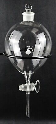 Pyrex Glass 4000ml Globe Separatory Funnel Squibb W Metal Support Ring 6340