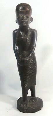 African Makonde Carving of woman in dress playing a game.  Kenya/Tanzania.