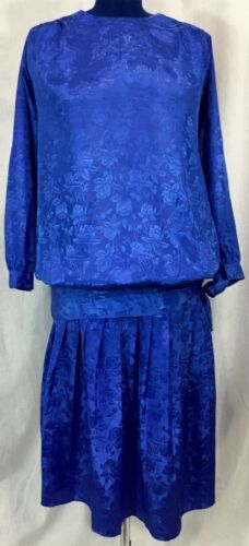 VTG 80s Blue Maternity 2PC Set Top 10 Pleated Skirt 12 Embossed Floral Print 90s