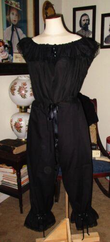 CIVIL WAR DRESS VICTORIAN UNDERPINNINGS JETT BLACK MOURNING PANTALETTS~SM/MED