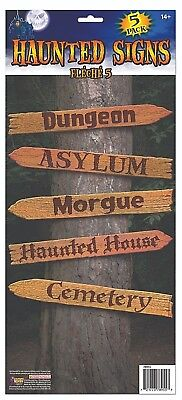 Haunted House Halloween Decoration HAUNTED SIGN SET Morgue Cemetery Asylum   2-4 - Morgue Sign