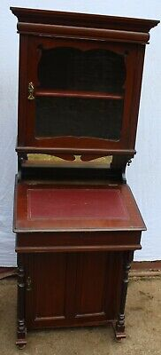 1920s Mahogany Davenport with Red Leather Writing Top