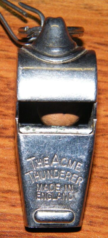 Vintage Acme Thunderer Stainless Whistle w/ Black Rope Necklace Made in England!