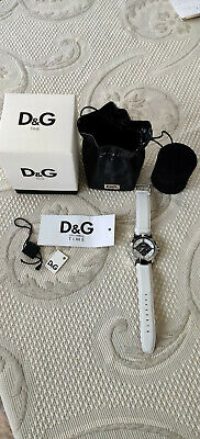 Dolce & Gabbana DW0535 Unisex Analog Quartz Watch with White Leather Strap