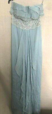 Jenny Packham lace pearl silk chiffon maxi strapless dress Size 10