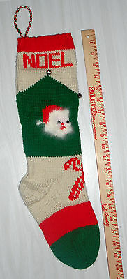 Personalized Hand Knit Christmas Stocking w/ANGORA Santa Beard - Vintage Pattern
