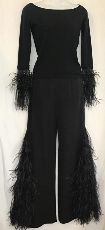 Valentino Vintage Black Pants Suit Ostrich Feather Trim Knit Sweater Size  XS
