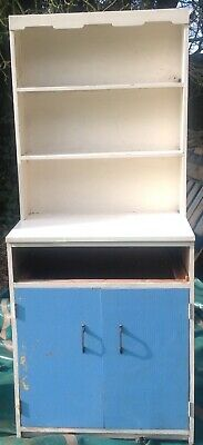Retro Vintage Kitchen Cabinet, ideal for renovation. 1950's/60's Blue and White