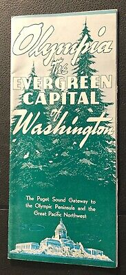 OLYMPIA THE EVERGREEN CAPITAL OF WASHINGTON 1940s BROCHURE ORIGINAL w MAP (Olympia Capital Of Washington)