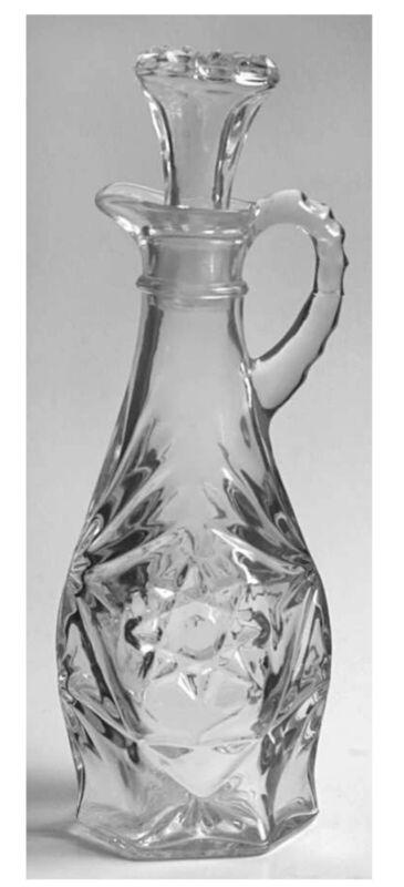 RETIRED Cruet Prescut Clear Glass by ANCHOR HOCKING Free Shipping
