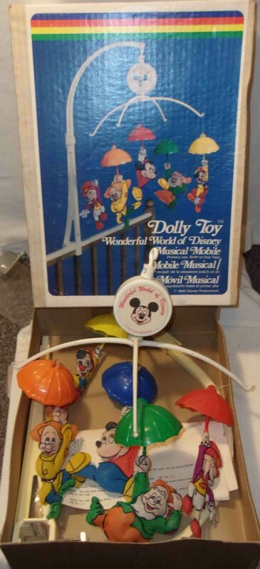 VINTAGE DISNEY DOLLY TOYS MUSICAL CRIB MOBILE  MICKEY MOUSE