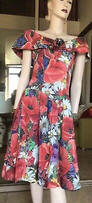 80s Dresses | Casual to Party Dresses Vtg 80s Cotton Red Floral Drop Waist Fitted Dress 10 $34.79 AT vintagedancer.com