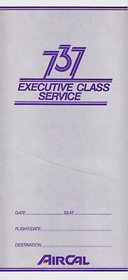 Air Cal 737 Executive Class Service Ticket Jacket New Unused