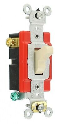 Leviton 20 Amp Double-Pole Toggle Switch Industrial - Ivory 3 way