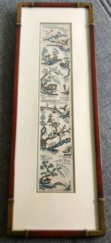 ANTIQUE CHINESE FRAMED EMBROIDERED SILK PANEL SLEEVE WITH FIGURES. QING.