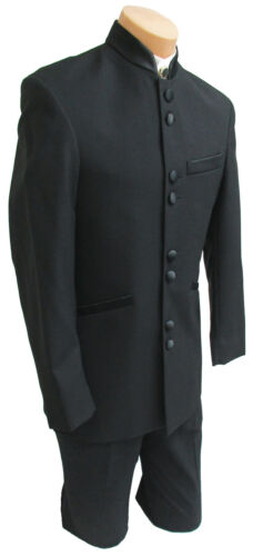 Boys 3 Black Tuxedo Jacket with Satin Mandarin Nehru Banded Collar 8 Buttons