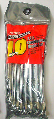 10-Piece Standard SAE Combination Wrenches Tool Set in Pouch