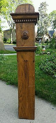 Estate Antique Architectural Salvage Carved Stained Oak Wood Stair Newel Post