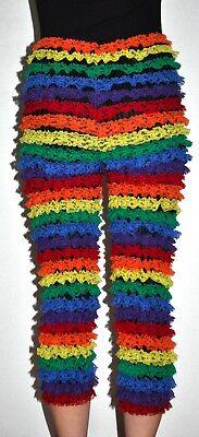 Sam's Rainbow Lace Cropped Leggings Pants Mardi Gras Gay Pride Sz M Stretch - Mardi Gras Pants