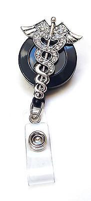 Rhinestone retractable ID badge holder reel - Caduceus Nurse Doctor Symbol