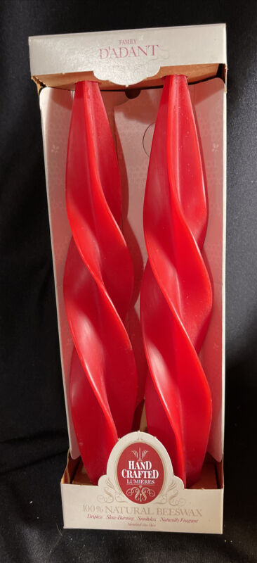 """Vintage Dadant 12"""" Holiday Red Feather Twist Tapered Beeswax Christmas Candles"""