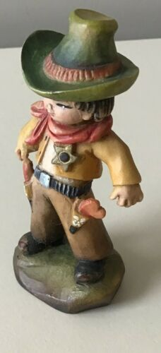 "ANRI FERRANDIZ 3"" THE COWBOY WOODCARVING FIGURINE"
