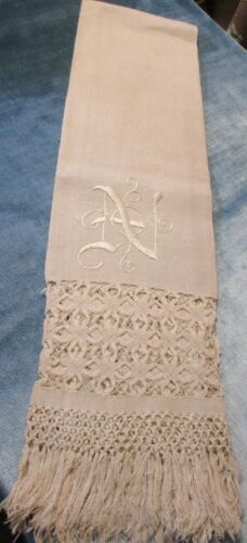 Antique Fabulous Fringed Linen Show Towel N Monogram Unusual Drawnwork Bands