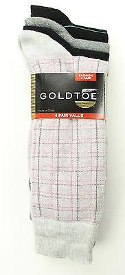 NEW GOLD TOE FASHION 4 PAIRS TATTERSALL PLAID COTTON BLEND DRESS SOCKS 10-13 ()