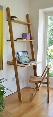 Solid Oak Wood Leaning Desk RRP £300. Great condition! Perfect WFH home office.