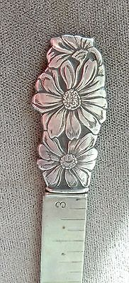 Antique Sterling HEM MEASURE RULER, Webster, detailed flower top, No Reserve