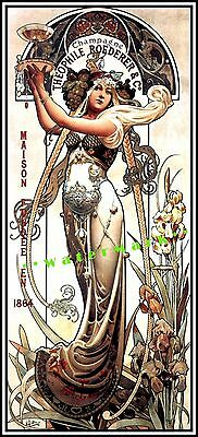 Champagne Theophile 1864 Vintage Poster Print Mucha Style Art Nouveau Lady (Mucha Vintage Poster)