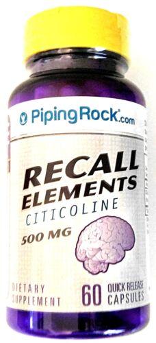 500mg Recall Elements Citicoline 60 Capsules Anti Aging Memory Focus Supplement