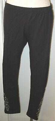 Women's Leggings Pants Black Cotton/Spandex Krista Lee Solea Black Embroidered  -