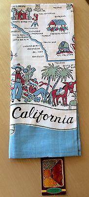 NEW Retro Vintage Style MODA Cotton  50's Kitchen Towel with California