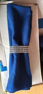 Royal blue Napkins with Bling Ring