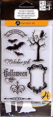 HAMPTON ART clear stamp & stencil set HALLOWEEN  Bats Tree October 31st Frame - Halloween Bat Arts Crafts