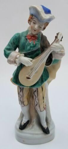 Vintage Porcelain Bisque Musician Mandolin Music Occupied Japan Figure Antique