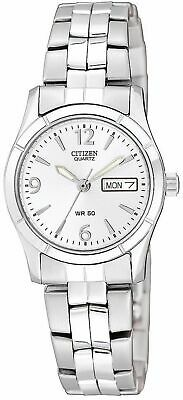 Citizen Women's EQ0540-57A Quartz Day & Date Silver-Tone Band 25mm Watch
