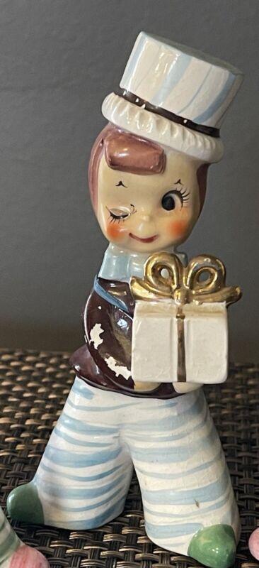 "Vintage Enesco Sweet Shoppe Winking Boy Figurine/Boy carrying Gift-4.5"""